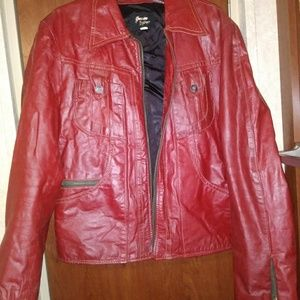 Jackets & Blazers - Red Leather Jacket Sz 42